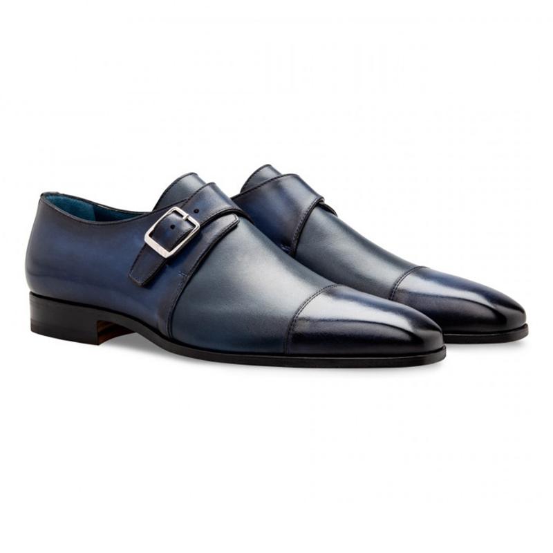 Moreschi 043126 Calfskin Monk Shoes Dark Blue Image
