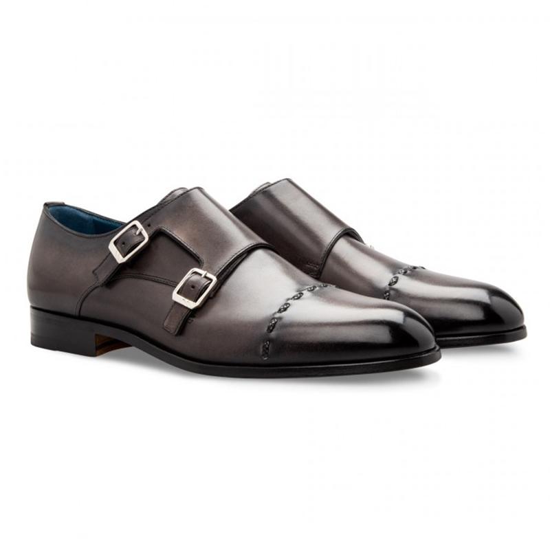 Moreschi 043130A Calfskin Monk Shoes Dark Grey Image