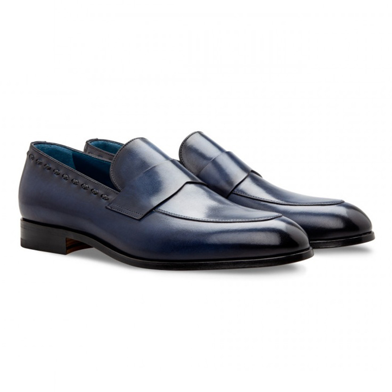 Moreschi 043131 Calfskin Loafer Shoes Dark Blue Image