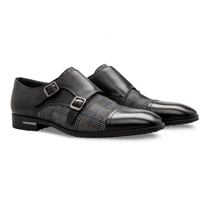 Moreschi 043137 Calfskin and Suede Monk Shoes Black Image