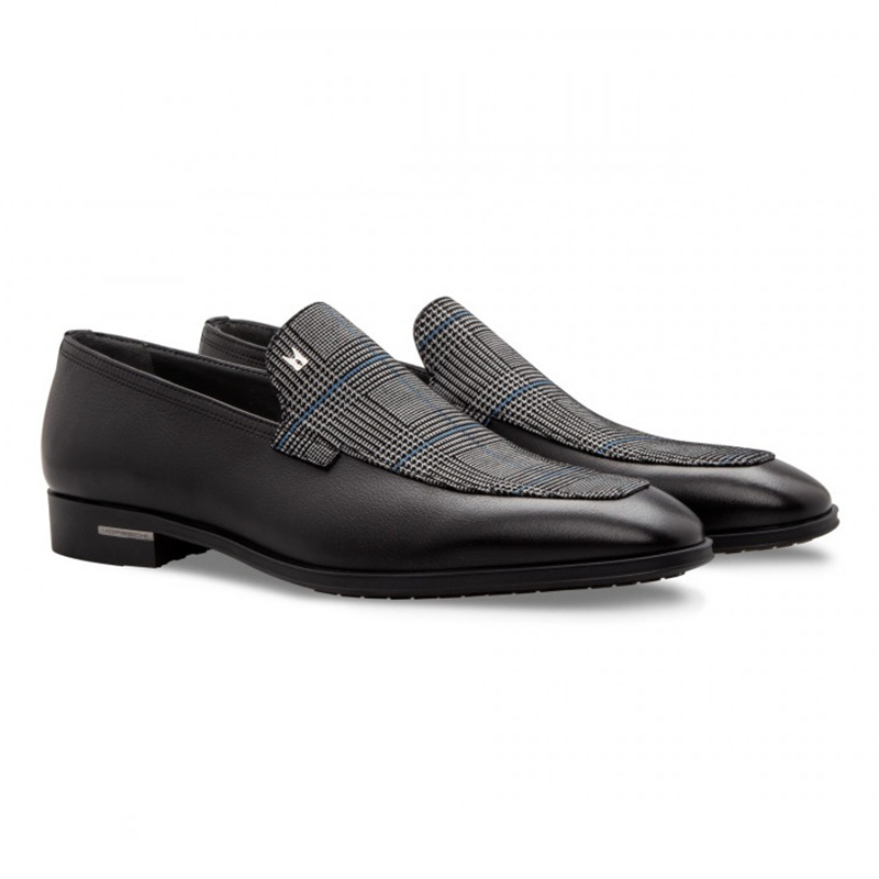 Moreschi 043139 Calfskin and Suede Loafer Shoes Black Image