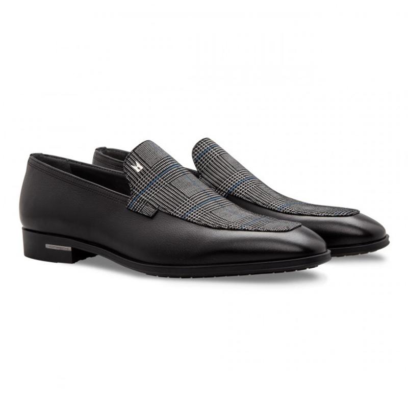 Moreschi 043139 Calfskin and Suede Loafer Shoes Black Image