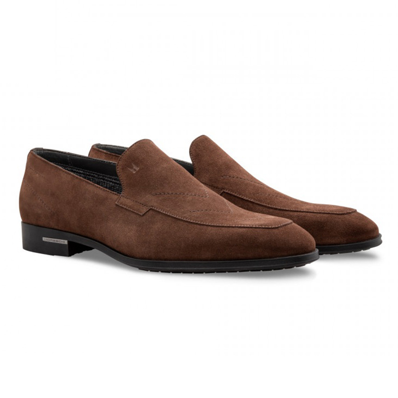 Moreschi 043141C Suede Loafer Shoes Dark Brown Image