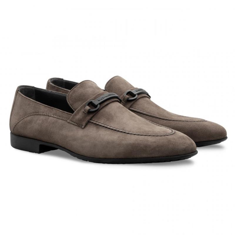 Moreschi 043157F TP Suede Loafer Shoes Light Grey Image