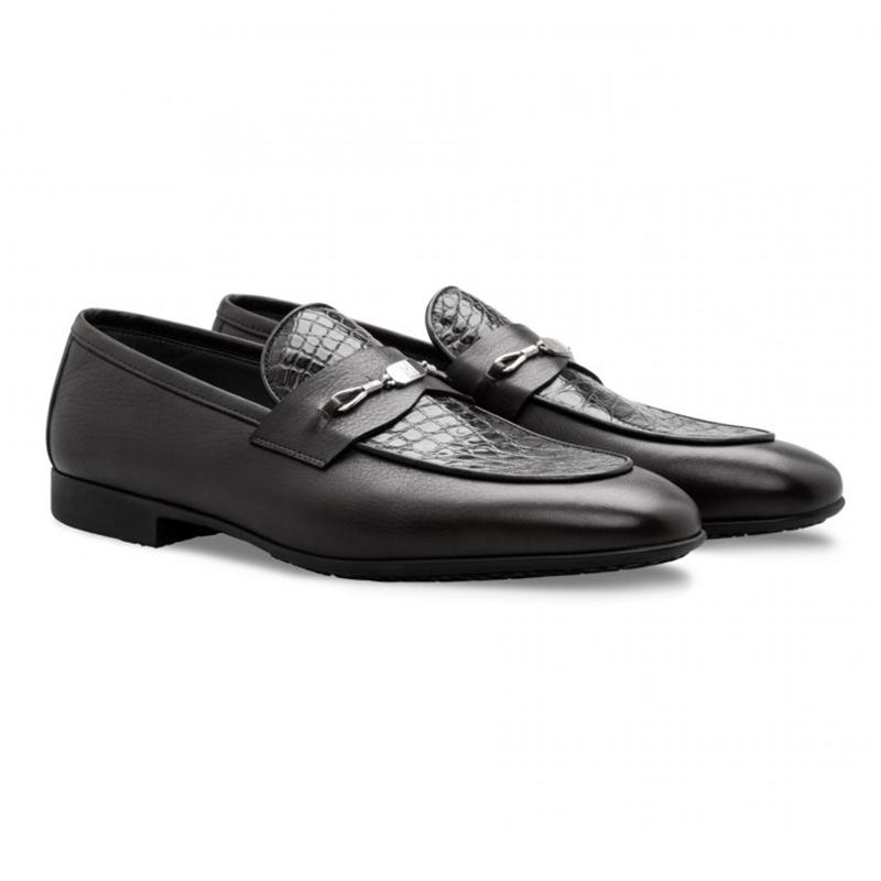 Moreschi 043160 NE Alligator & Calfskin Loafers Black Image
