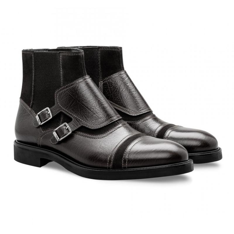 Moreschi 043195 NE Calfskin and Suede Boots Black Image
