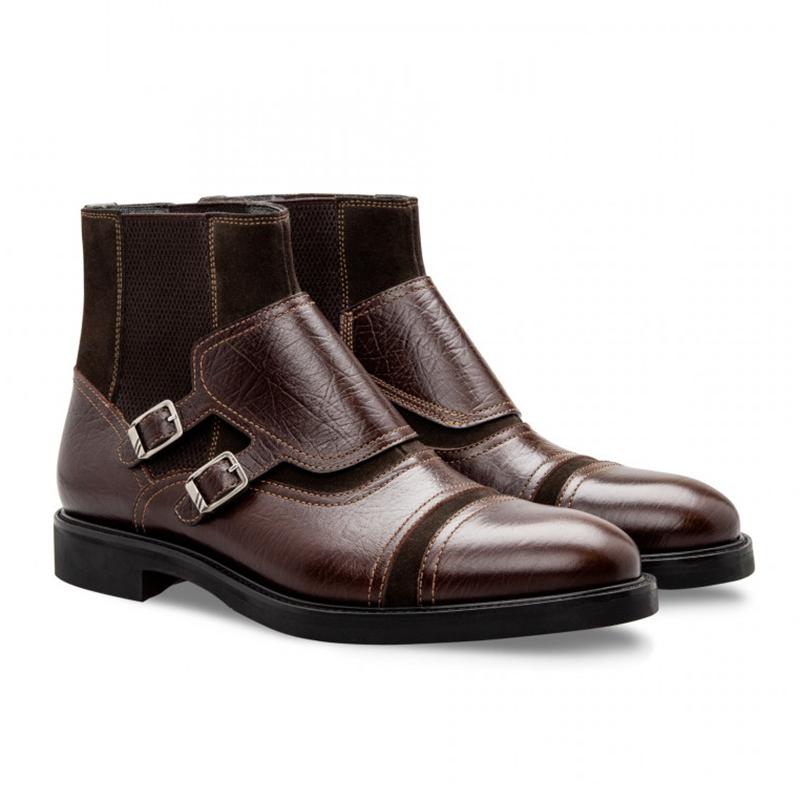 Moreschi 043195 TM Calfskin and Suede Boots Dark Brown Image