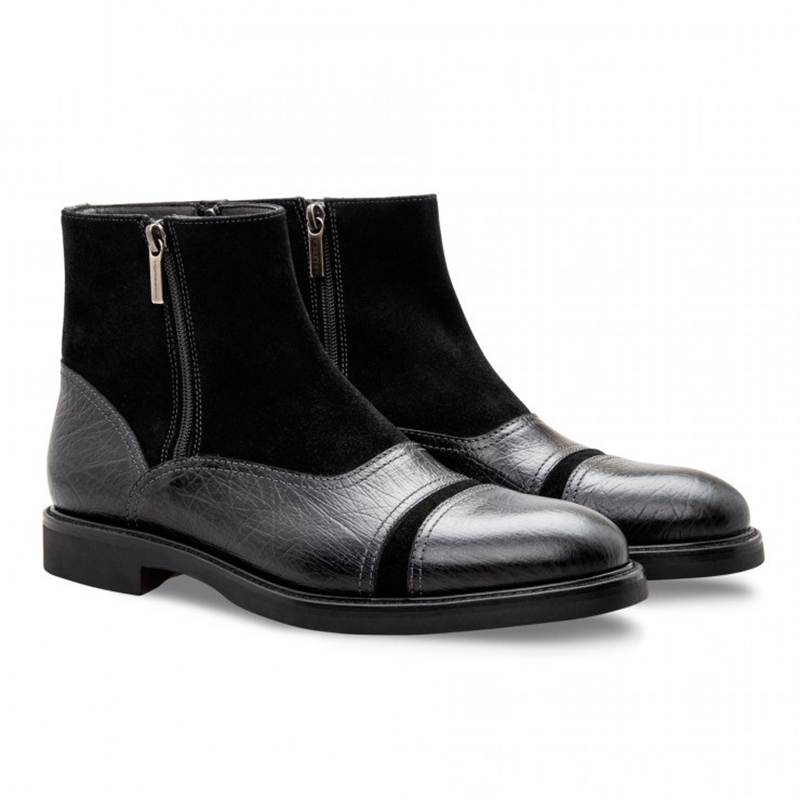 Moreschi 043196 Calfskin and Suede Boots Black Image