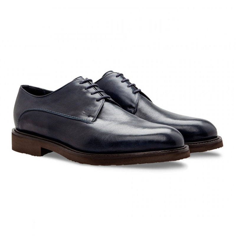 Moreschi 043198A Goatskin Derby Shoes Dark Blue Image
