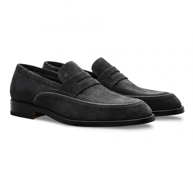 Moreschi 043199S Suede Loafer Shoes Black Image