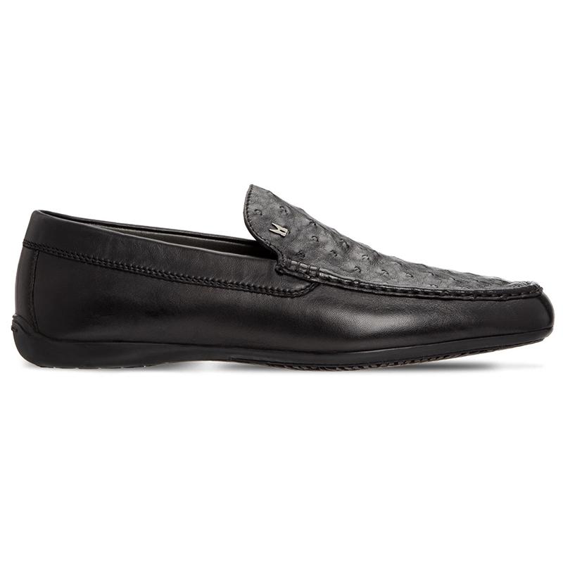 Moreschi 043591B Ostrich & Calfskin Loafers Black Image