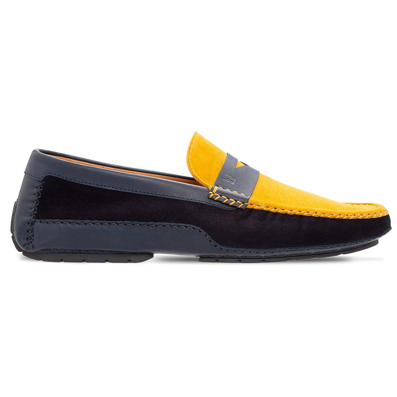 Moreschi 043705A-BS Leather Driving Shoes Blue / Yellow Image
