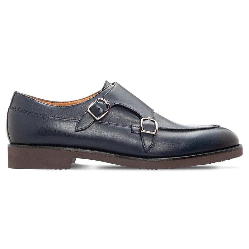 Moreschi 043752A Calfskin Monkstrap Shoes Antique Blue Image