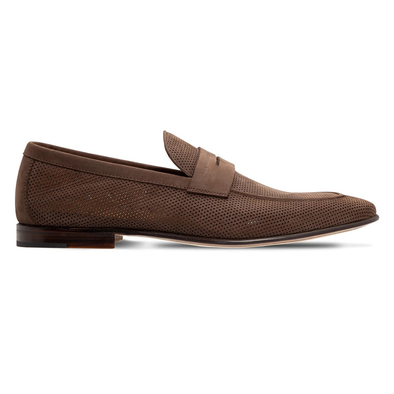 Moreschi 043848 Perforated Suede Loafer Dark Brown Image