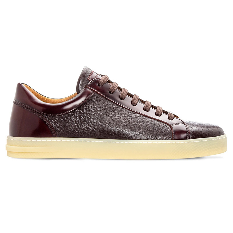 Moreschi 043850a Calfskin And Peccary Sneakers Bordeaux Image