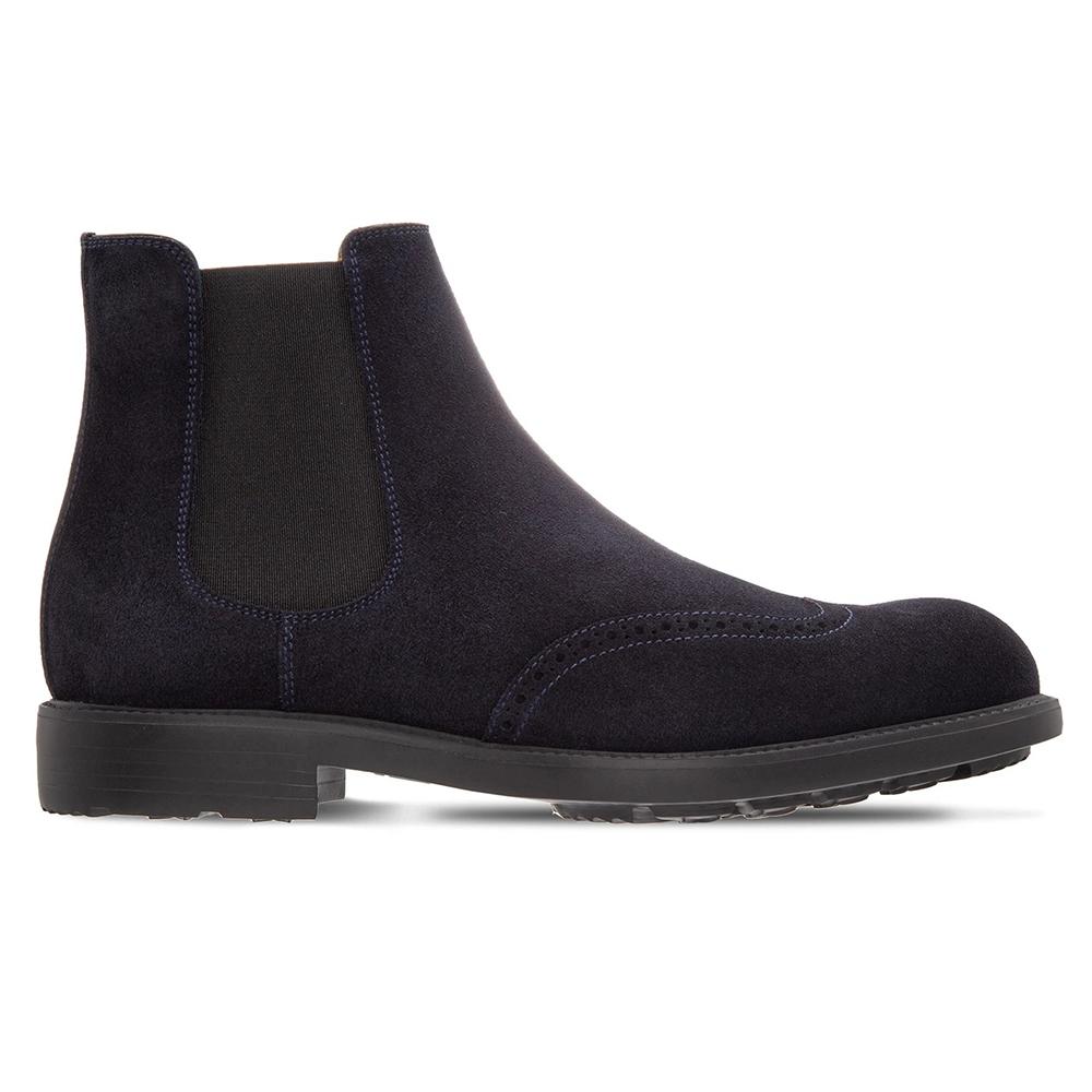 Moreschi 043952C Suede Slip-on Boots Navy Blue Image