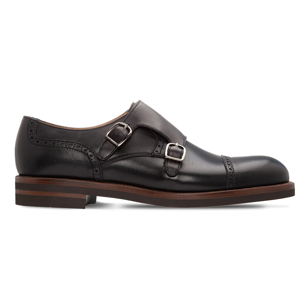 Moreschi 043955A Calfskin Double Monkstrap Shoes Black Image