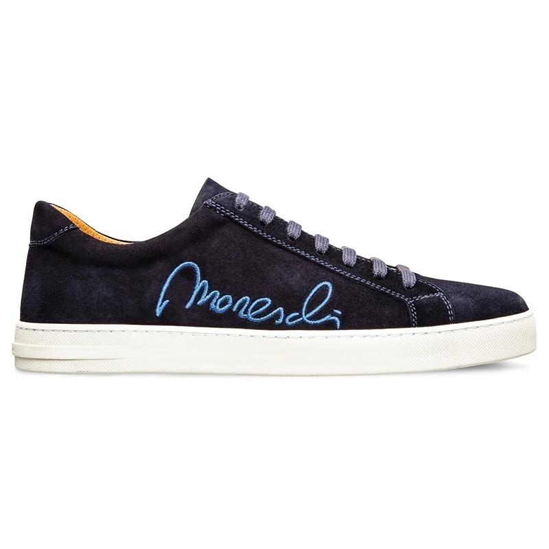 Moreschi 2000001113929 Suede Signature Sneakers Dark Blue Image