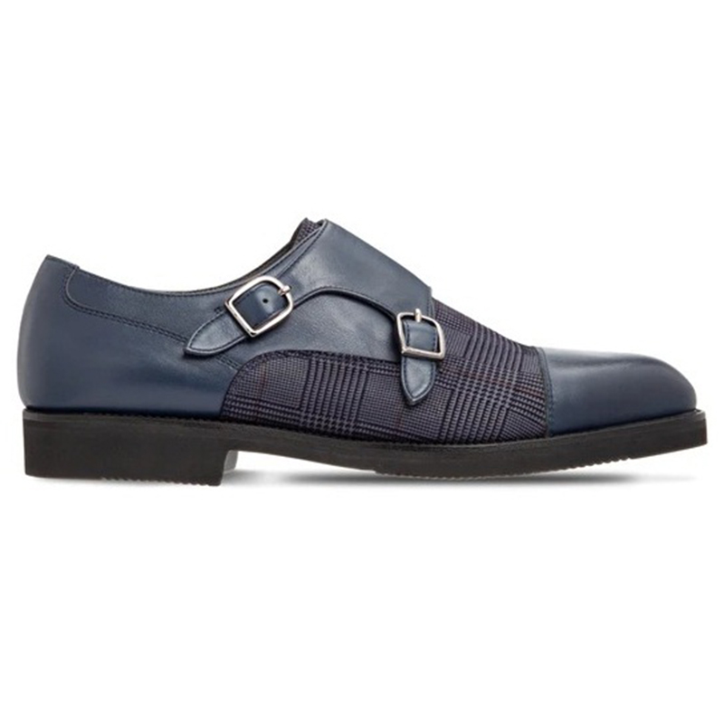 Moreschi 2000001246696 Calfskin Double Buckle Shoes Blue Image