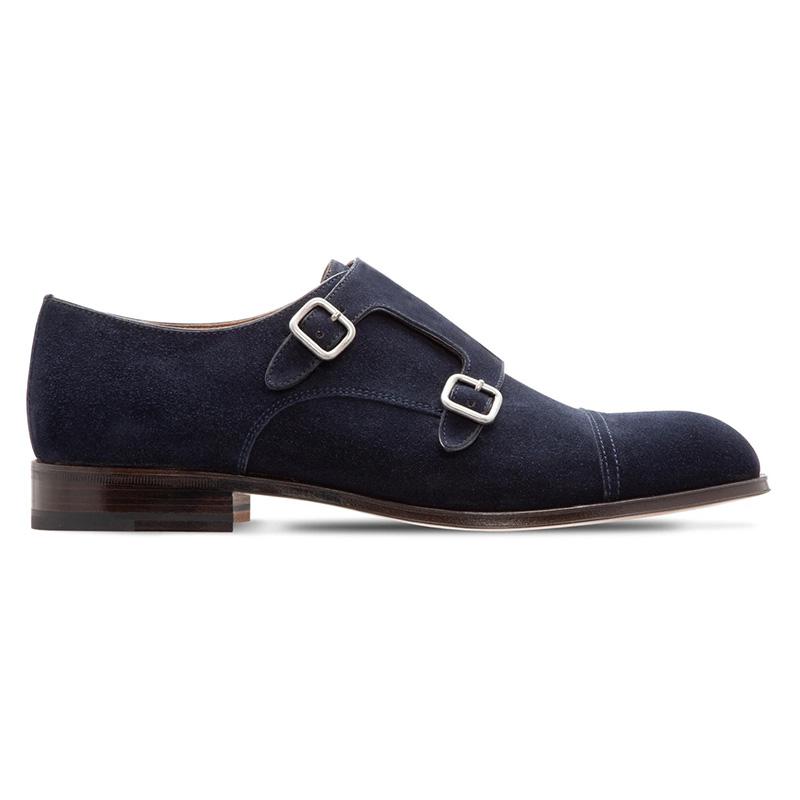 Moreschi 228879C Suede Monkstrap Shoes Dark Blue Image