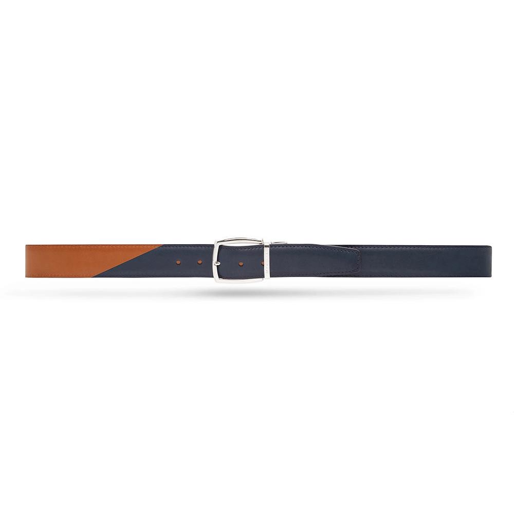 Moreschi 307001A Calfskin Twinface Belt Navy Blue / Light Brown Image