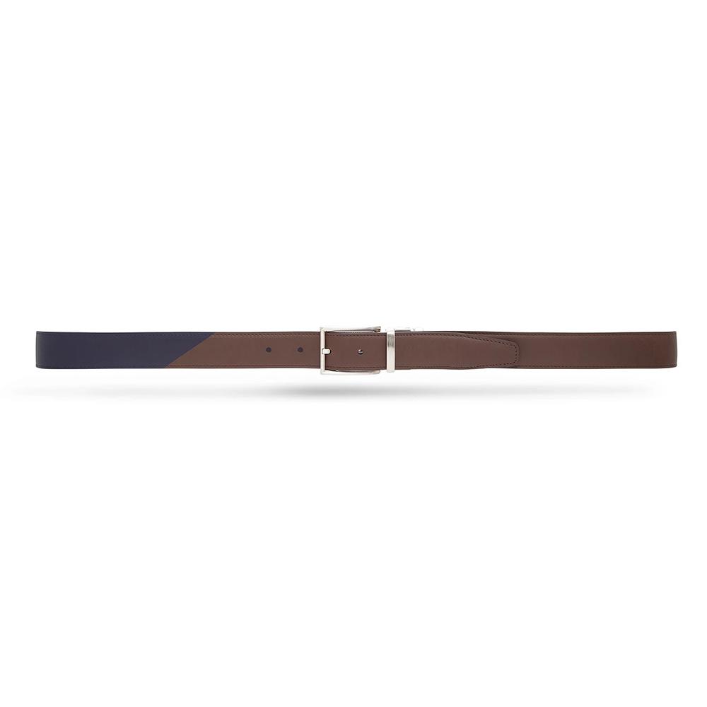 Moreschi 307011 Calfskin Twinface Belt Navy Blue / Dark Brown Image