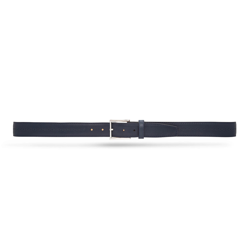 Moreschi 307025A Calfskin Belt Navy Blue Image