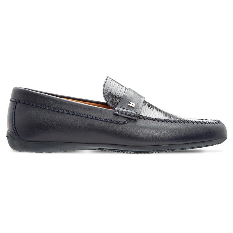 Moreschi 43720 Goatskin And Tejus Leather Loafer Dark Blue Image