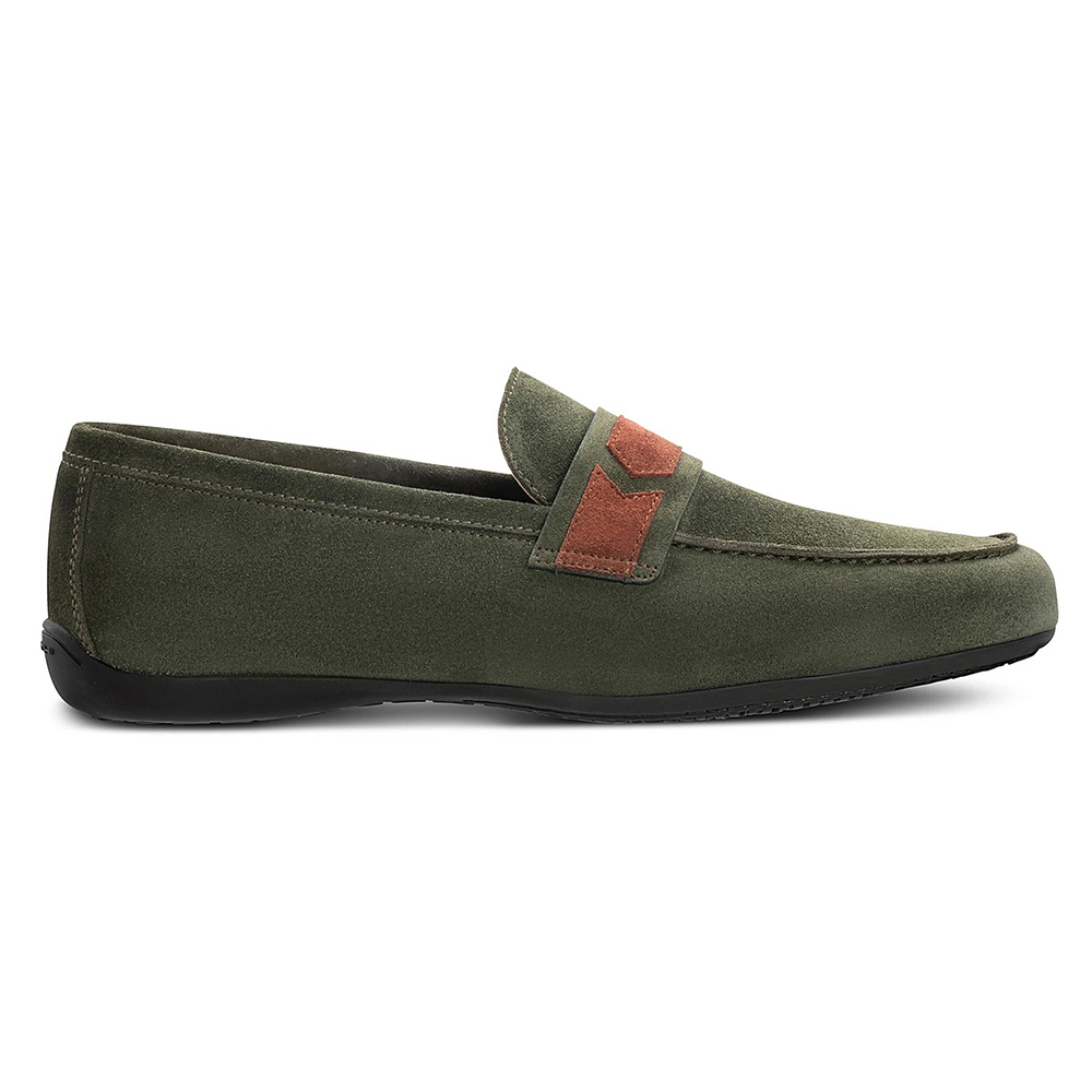 Moreschi 43940 Suede Slip On Shoes Green / Brown Image