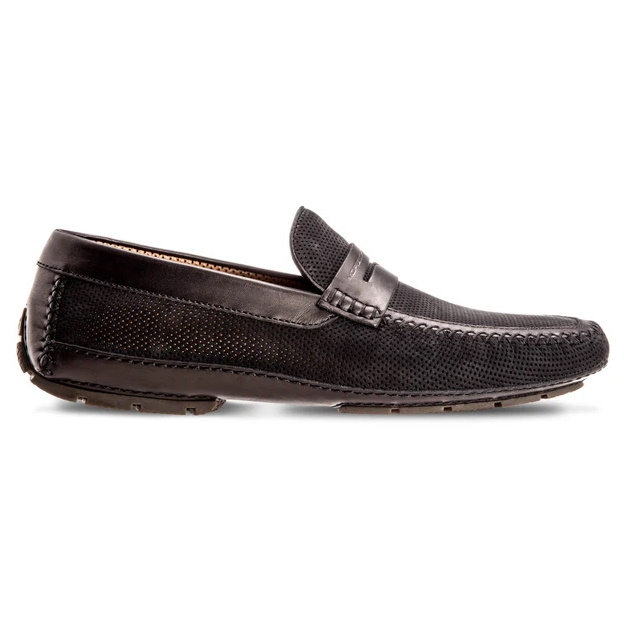 Moreschi Bahamas Perforated Nubuck Driving Loafers Black Image