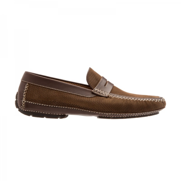 Moreschi Bahamas Perforated Nubuck Driving Loafers Brown Image