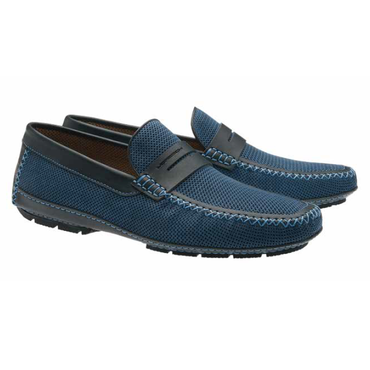 Moreschi Bahamas Perforated Nubuck Driving Loafers Navy Image