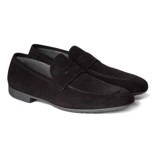 Moreschi Biarritz Suede Penny Loafers Black Image
