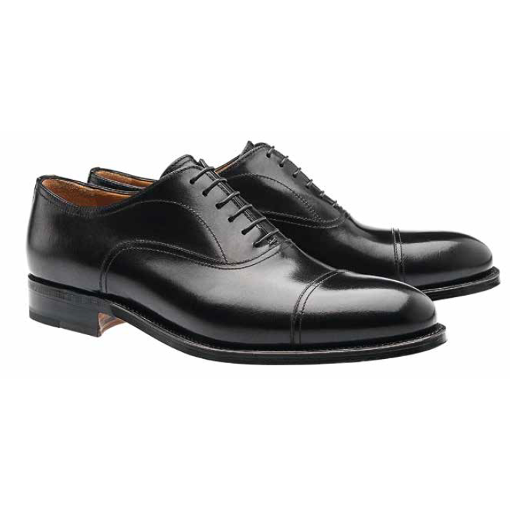 Moreschi Cardiff Goodyear Welted Cap Toe Oxfords Black Image