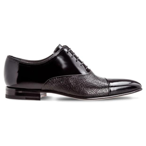 Moreschi Digione Peccary & Calfskin Cap Toe Shoes Black Image