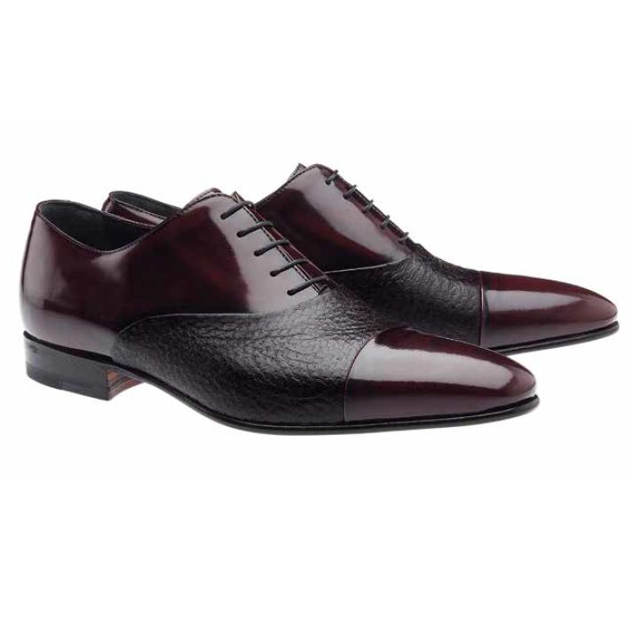 Moreschi Digione Peccary & Calfskin Cap Toe Shoes Burgundy Image