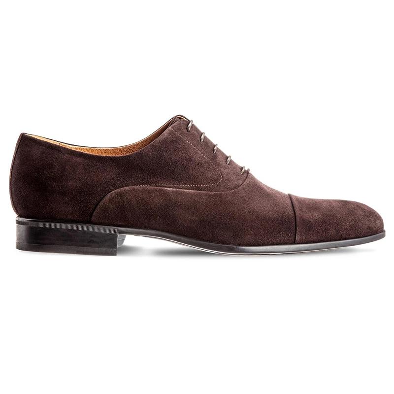 Moreschi Dublin Suede Cap Toe Shoes Dark Brown Image