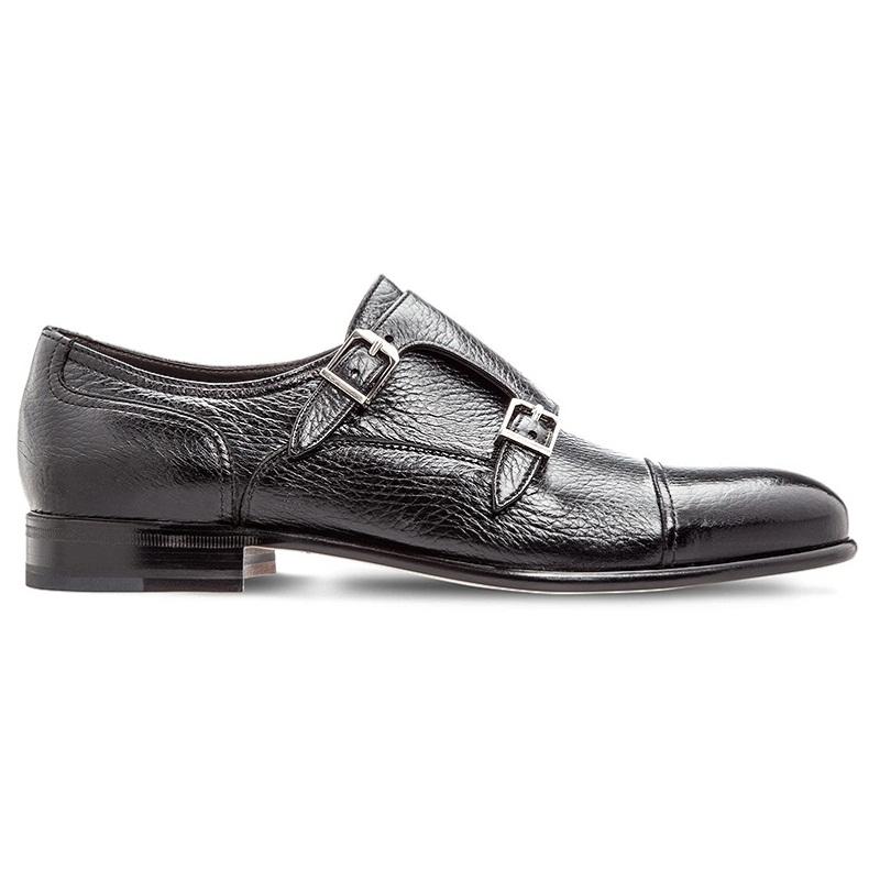 Moreschi Eze Deerskin Monk Strap Shoes Black Image