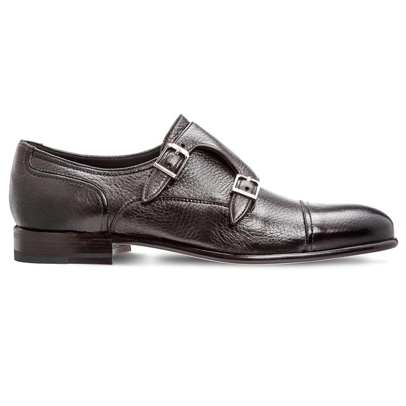 Moreschi Eze Deerskin Monk Strap Shoes Dark Brown Image