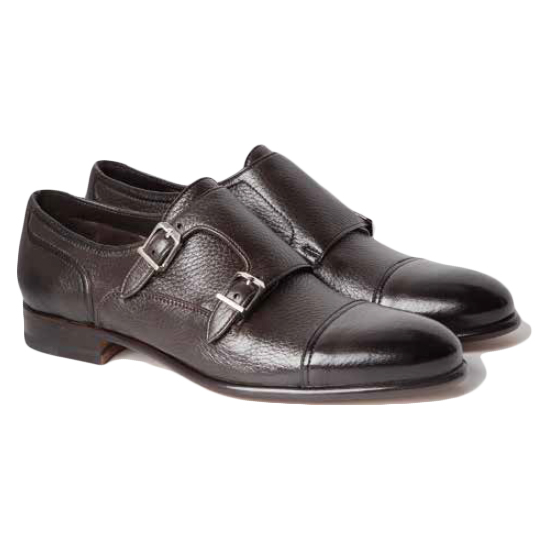 Moreschi Eze Deerskin Monk Strap Shoes Dark Brown Image