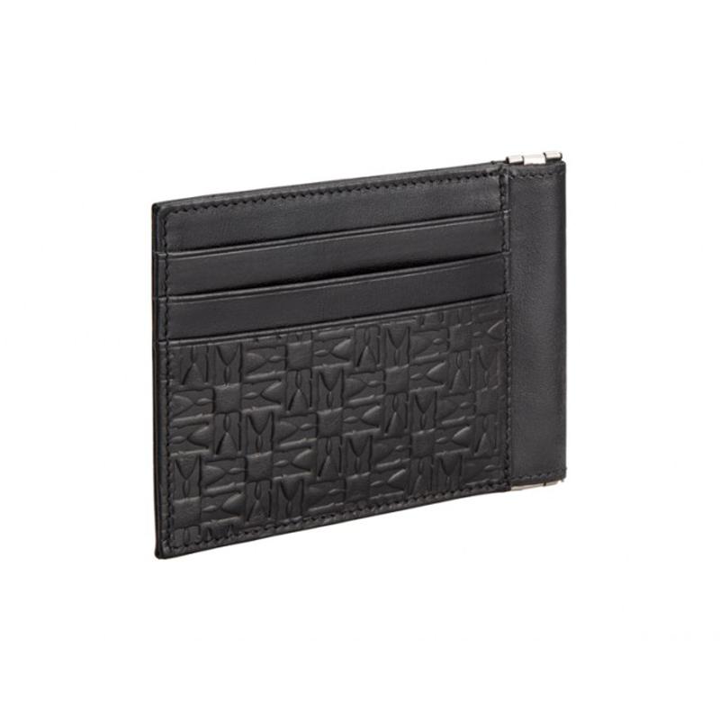 Moreschi Leather Embossed Credit Card Holder Black Image