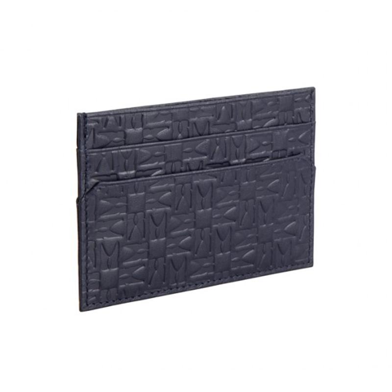 Moreschi Leather Embossed Credit Card Holder Dark Blue Image