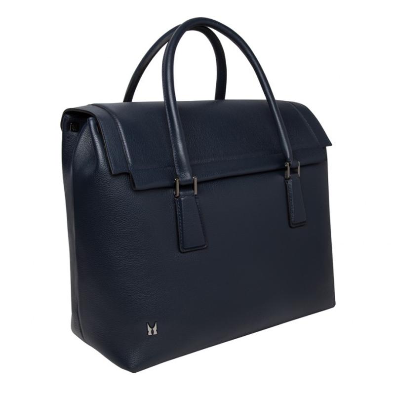 Moreschi Leather Travel Bag Dark Blue Image
