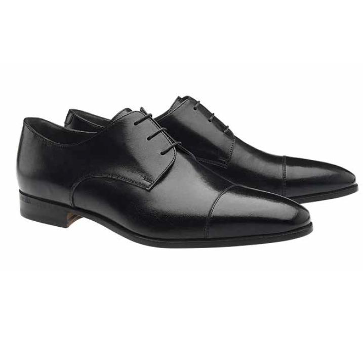 Moreschi Lipsia Buffalo Leather Cap Toe Shoes Black Image