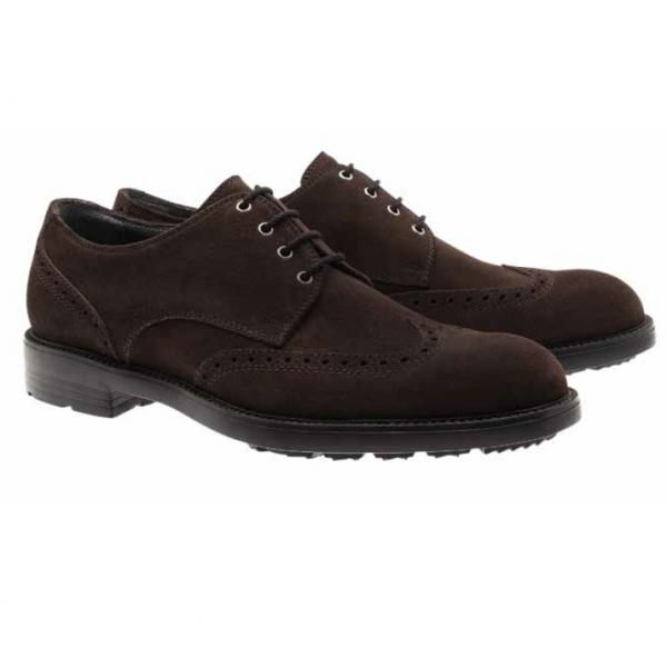 Moreschi Malmo Suede Wing Tip Shoes Dark Brown Image