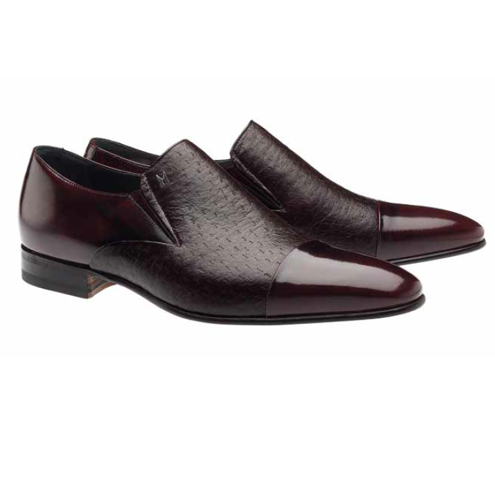 Moreschi Metz Peccary & Calfskin Loafers Burgundy (SPECIAL ORDER) Image