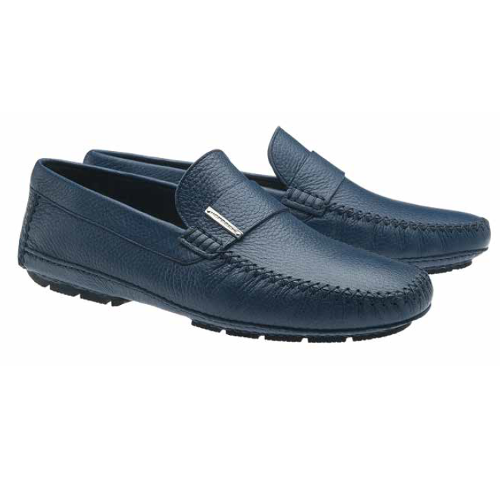Moreschi Miami Deerskin Driving Loafers Navy (Special Order) Image
