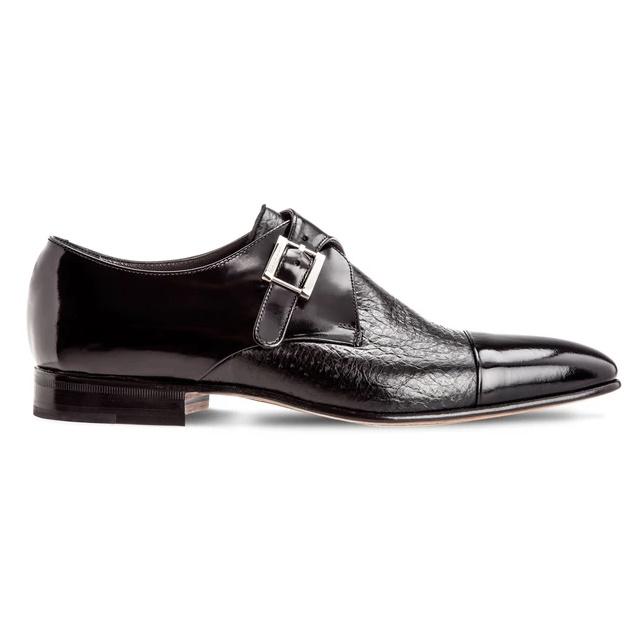 Moreschi Nancy Peccary & Calfskin Monk Strap Shoes Black Image