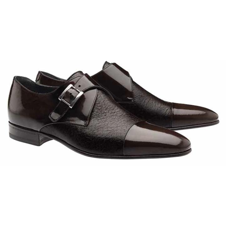 Moreschi Nancy Peccary & Calfskin Monk Strap Shoes Brown Image