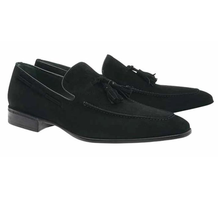 Moreschi Newport Suede Tassel Loafers Black Image